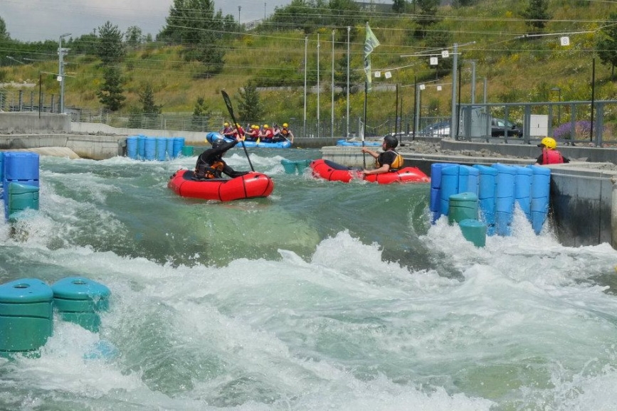 Packraft whitewater course 2019 at Kanupark Markkleeberg, Leipzig