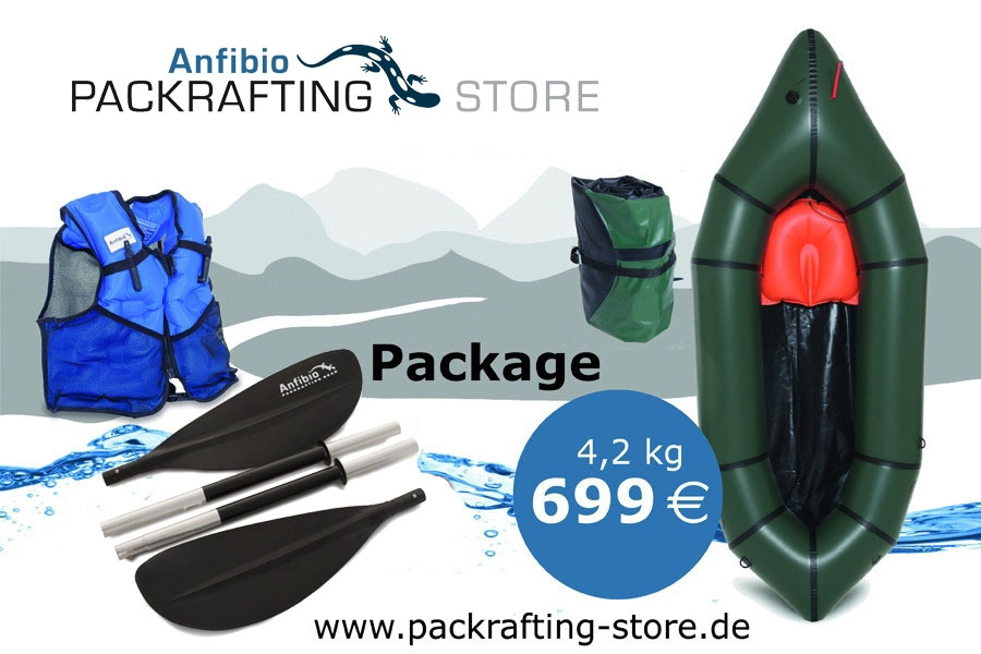 Packrafting (touring) package (Nortik Trekraft, Anfibio Buoy Boy, Anfibio Basic 4p)